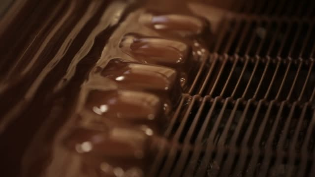 vídeos de stock, filmes e b-roll de liquid chocolate drips into a large vat before being drizzled over other chocolate products at the theo chocolate factory in seattle washington close... - moving activity
