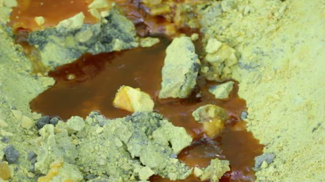 CU Liquid sulfur from the Ijen volcano / Ijen, Java, Indonesia