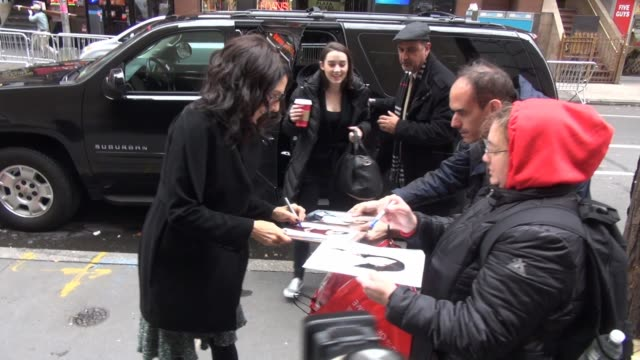 lisa edelstein arrives at the today show and signs for fans in celebrity sightings in new york - lisa edelstein stock videos and b-roll footage