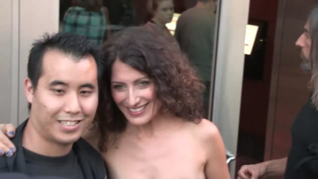 lisa edelstein greets a fan at afternoon delight premiere at archlight in hollywood at celebrity sightings in los angeles lisa edelstein greets a fan... - lisa edelstein stock videos and b-roll footage