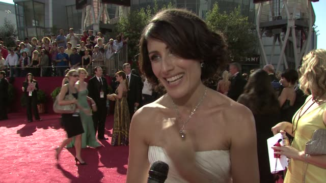 Lisa Edelstein Hugh Laurie at the 60th Primetime Emmy Awards at Los Angeles CA