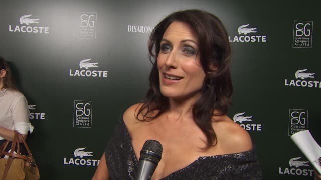 lisa edelstein on her dress on being part of tonight's event on the importance of costume designers to actors on a costume helping her feel in... - lisa edelstein stock videos and b-roll footage