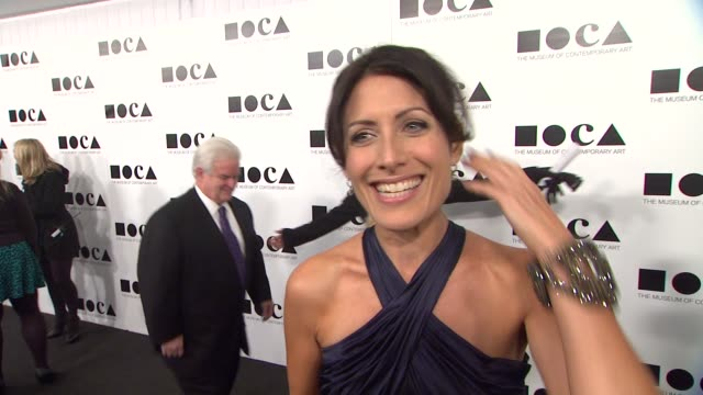 lisa edelstein on what brings her out when she became a fan of marina abramovic and why it's important to raise money for the arts at the the museum... - marina abramovic stock videos and b-roll footage