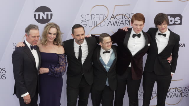 lisa emery charlie tahan trevor long george vourazeris carson holmes robert c treveiler at the 25th annual screen actors guild awards at the shrine... - screen actors guild awards stock videos & royalty-free footage