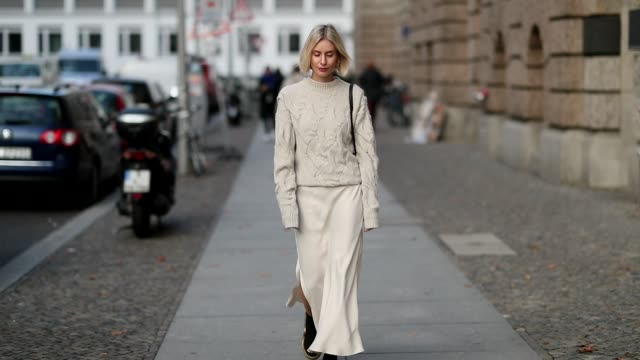 lisa hahnbueck is seen wearing joseph knit silk dress mango sneaker boots louis vuitton cruise 2018 hermes bag on november 15 2018 in berlin germany - hermes designer label stock videos and b-roll footage