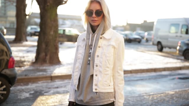 lisa hahnbueck wearing a white marc cain jacket grey marc cain hoody pink marc cain bag leather pants marc cain heels sunglasses during the... - grey jacket stock videos and b-roll footage