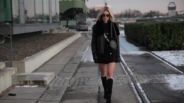 lisa hahnbueck wearing and see through longshirt with lace dorothee schumacher, black boots patrizia pepe, sunglasses dior magnitude0, maze sheepskin... - lace textile stock videos & royalty-free footage