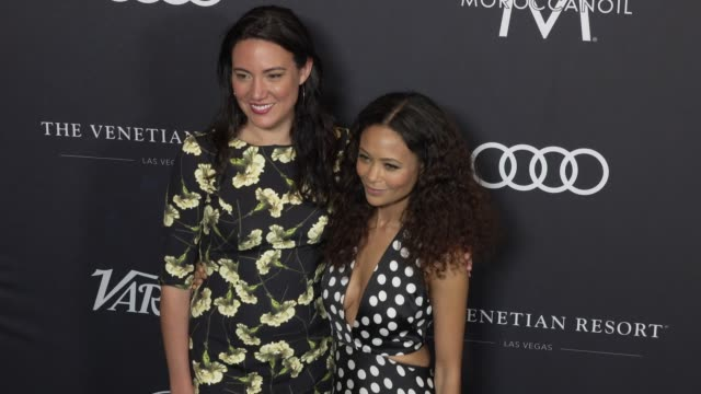 lisa joy and thandie newton at the variety's power of women: los angeles at the beverly wilshire four seasons hotel on october 12, 2018 in beverly... - フォーシーズンズホテル点の映像素材/bロール