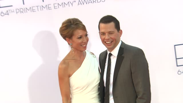 lisa joyner jon cryer at 64th primetime emmy awards arrivals on 9/23/12 in los angeles ca - lisa joyner stock videos and b-roll footage