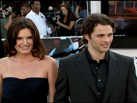 lisa linde and james marsden at the 'superman returns' premiere at the mann village theatre in westwood california on june 21 2006 - lisa linde stock videos & royalty-free footage