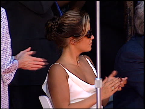 lisa marie presley at the dedication of nicolas cage's footprints at grauman's chinese theatre in hollywood, california on august 14, 2001. - lisa marie presley stock videos & royalty-free footage