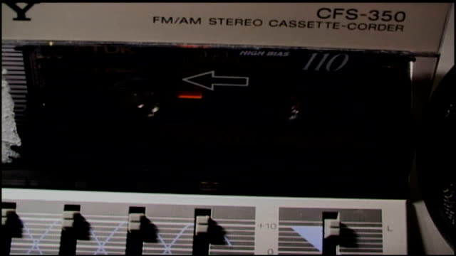 lisa marie presley cassette tape inside boombox stereo - lisa marie presley stock videos & royalty-free footage