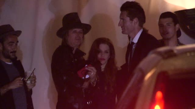 lisa marie presley & michael lockwood at chateau marmont in west hollywood in celebrity sightings in los angeles, - lisa marie presley stock videos & royalty-free footage