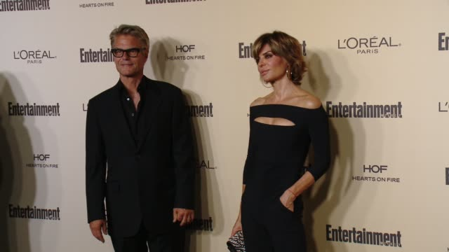 lisa rinna and harry hamlin at entertainment weekly's preemmy celebration at fig olive melrose place on september 18 2015 in west hollywood california - entertainment weekly stock videos and b-roll footage