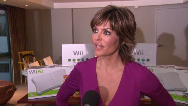 Lisa Rinna on her favorite thing about the Wii Fit at the Nintendo Wii event at SLS at Los Angeles CA