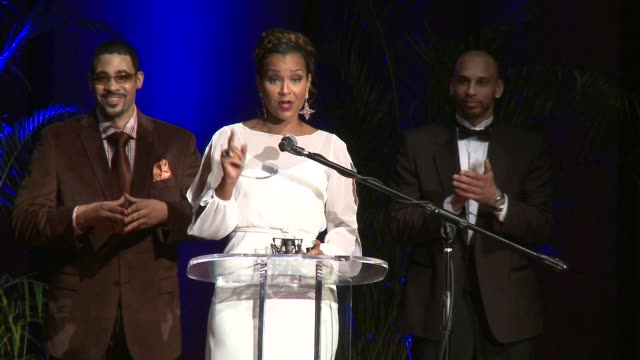 lisaraye mccoy accepts her award says they all clean up well at the 2012 diamond awards hosted by the not alone foundation on 3/17/2012 in atlanta ga... - lisaraye mccoy stock videos & royalty-free footage