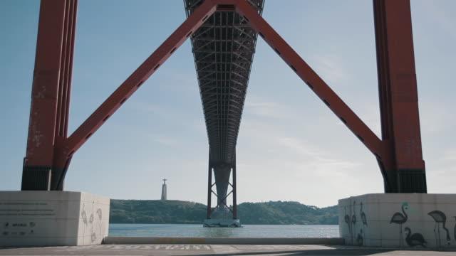 "lisbon 25 april bridge ""ponte 25 de abril"" - ponte stock videos & royalty-free footage"