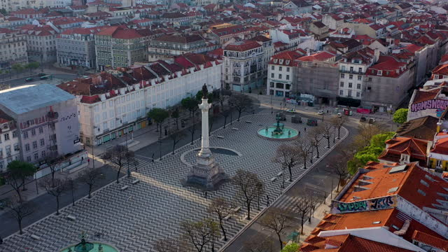 lisbon downtown aerial footage from avenida da liberdade - liberdade stock videos & royalty-free footage