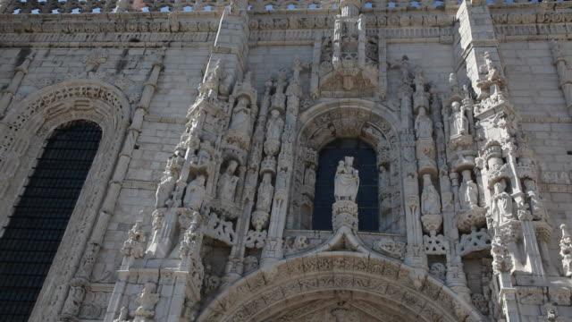 lisbon, jeronimos monastery, hieronymites monastery (mosteiro dos jeronimos), main entrance, belem - mosteiro dos jeronimos stock videos and b-roll footage