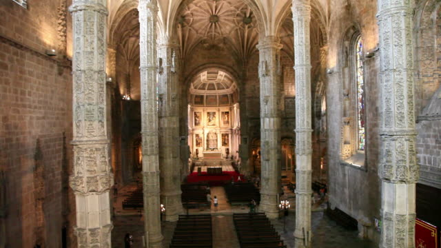 lisbon, jeronimos monastery, hieronymites monastery (mosteiro dos jeronimos), the nave - mosteiro dos jeronimos stock videos and b-roll footage