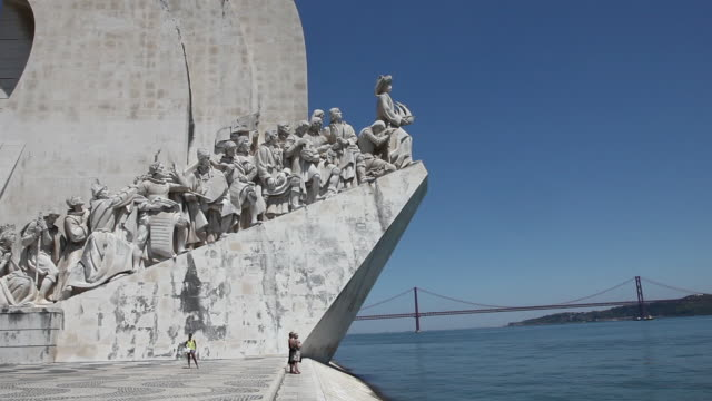 Lisbon, Monument of the Discoveries (Padrao dos Descobrimentos), view of the western profile of the monument along the Tagus river, Belem