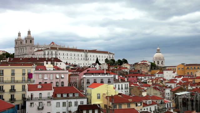 lisbon, panoramic view to afama - lisbon stock videos and b-roll footage
