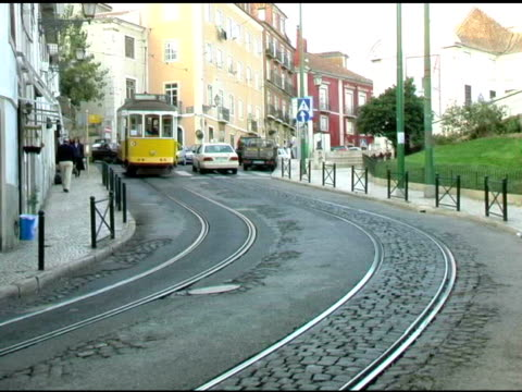 lisbon portugal cable trolly car 2 - tram stock videos & royalty-free footage