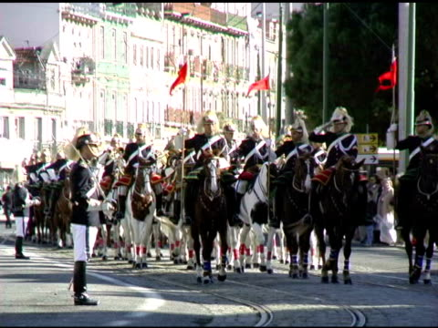 lisbon portugal military guard in formation on horses 1 - military parade stock videos and b-roll footage