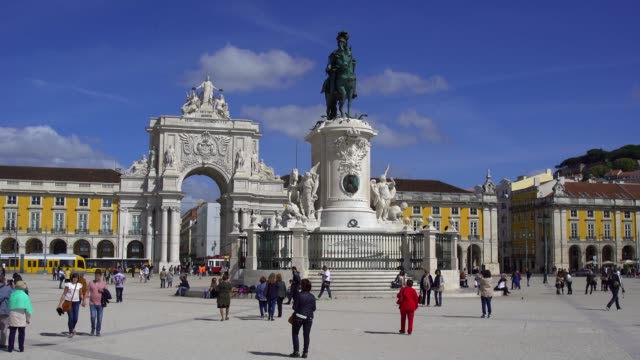 lisbon, portugal, praca do comercio - lisbon stock videos and b-roll footage