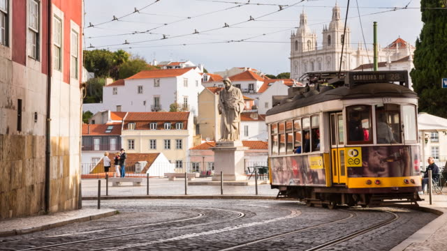 ms lisbon tram at portas do sol - portugal stock videos & royalty-free footage