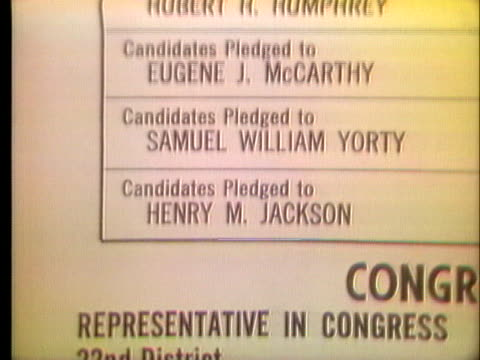 list of democratic candidates on a ballot from the 1972 california primary does not show governor george wallace, who will run as a write-in... - 1972 stock videos & royalty-free footage
