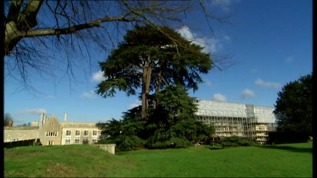 listed building 'apethorpe hall' restoration project general view apethorpe hall with scaffolding around builder hoisting planks of wood scaffolding... - hoisting stock videos & royalty-free footage