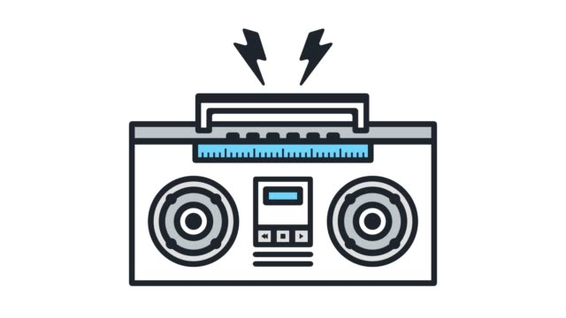 listen music mix line icon animation with alpha - variation icon stock videos & royalty-free footage