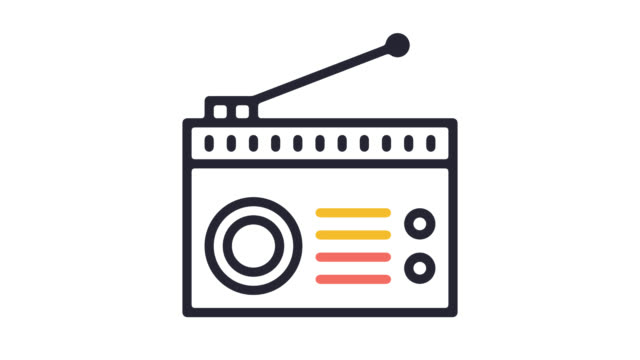 listen radio podcast line icon animation with alpha - global communications icon stock videos & royalty-free footage