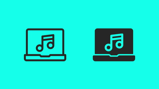 listening music on laptop icons - vector animate - global communications vector stock videos & royalty-free footage