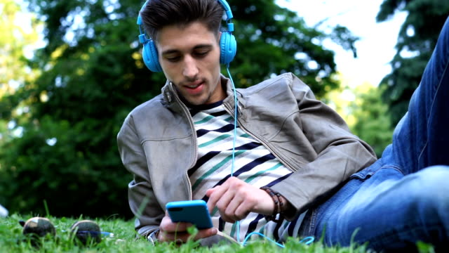 Listening to music in the city park