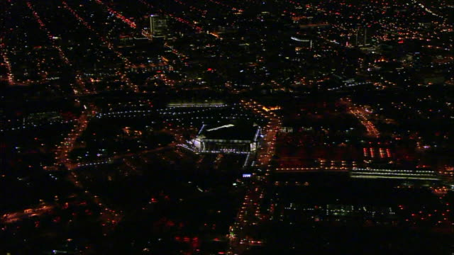 california night hd aerial * xws lit downtown san jose cityscape including lit hp pavilion sports arena lights of traffic on streets below ca central... - san jose california stock videos & royalty-free footage