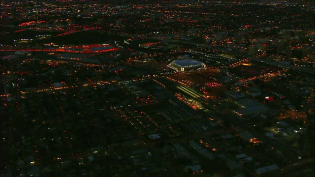 california night hd aerial ** xws lit downtown san jose cityscape stretching into distant bg including lit hp pavilion sports arena lights of traffic... - san jose california stock videos & royalty-free footage