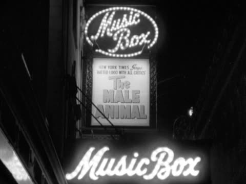 lit neon lights sign for 'the male animal' at the music box theatre on west 45th street nyc theatre district play show performance the great white way - broadway manhattan video stock e b–roll