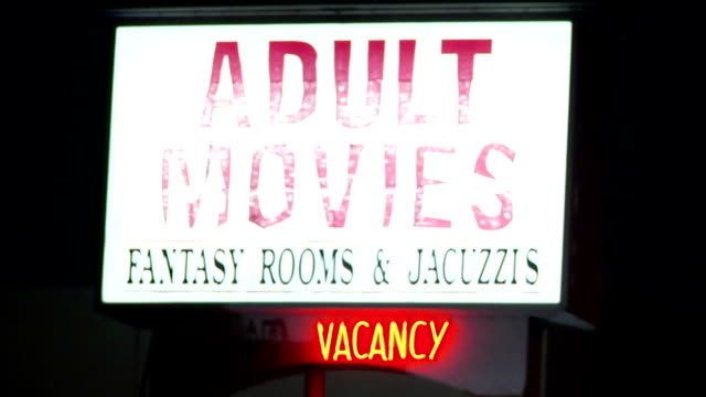 ws lit sign adult movies fantasy rooms jacuzzi's vacancy exotic erotic motel - pornographic movie stock videos and b-roll footage