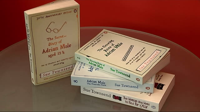 author sue townsend dies; england: int close shots of sue townsend books - including 'adrian mole' books - スー・タウンゼント点の映像素材/bロール