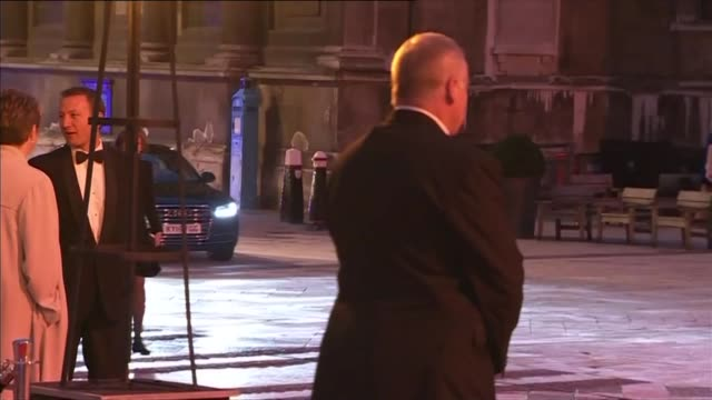 camilla presents man booker prize award; england: london: guildhall: ext / night **beware flash photography** car arriving / camilla, duchess of... - literature stock videos & royalty-free footage