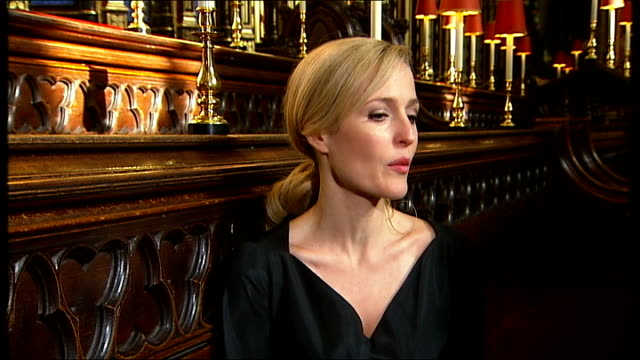 charles dickens bicentenary celebrations gillian anderson interview sot fantastic to play because so complicated how human his characters are - gillian anderson stock videos & royalty-free footage