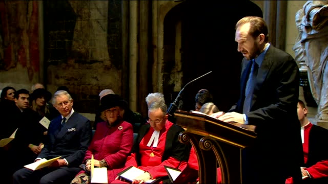 "literature: charles dickens bicentenary celebrations: service at westminster abbey; ralph fiennes speaking sot - reads extract from ""bleak house"" by... - literature stock-videos und b-roll-filmmaterial"