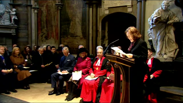 literature: charles dickens bicentenary celebrations: service at westminster abbey; claire tomalin speaking sot - reads letter from charles dickens... - charles dickens stock videos & royalty-free footage