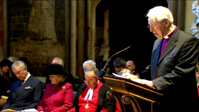 vídeos de stock e filmes b-roll de charles dickens bicentenary celebrations service at westminster abbey right reverend michael dickens whinney speaking sot reads a parable from the... - charles dickens