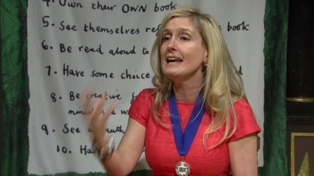 cressida cowell named new children's laureate england london shakespeare's globe int cressida cowell interview and setup shots with reporter sot - how to train your dragon stock videos & royalty-free footage