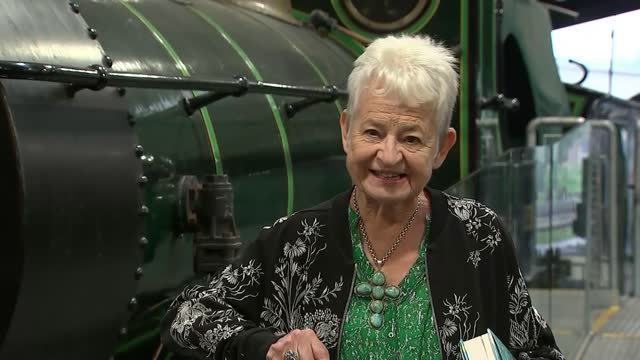 dame jacqueline wilson updating 'the railway children' more than a century after it was published; england: east sussex: sheffield park station: int... - literature stock videos & royalty-free footage