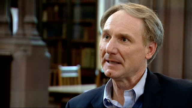 "dan brown interview on new book 'inferno'; england: manchester: john ryland's library: int dan brown interview sot - talks of his new book ""inferno""... - literature stock videos & royalty-free footage"