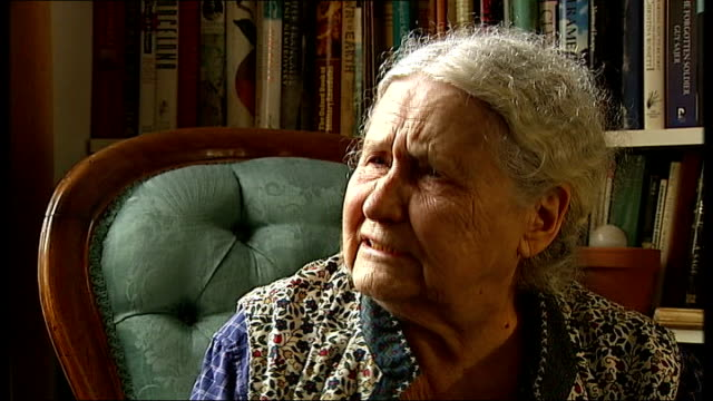 doris lessing wins the nobel prize for literature lessing interview sot when i wrote the golden notebook and i wrote these things that women were... - literature stock videos & royalty-free footage